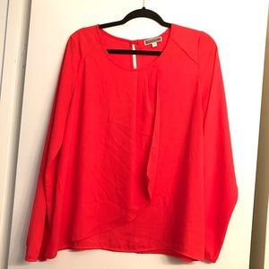 Pleione Cherry Red Faux Wrap Blouse size Large